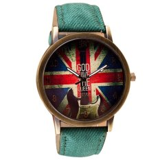 UJS Pattern Leather Band Analog Quartz Vogue Wrist Watches Green (Intl)