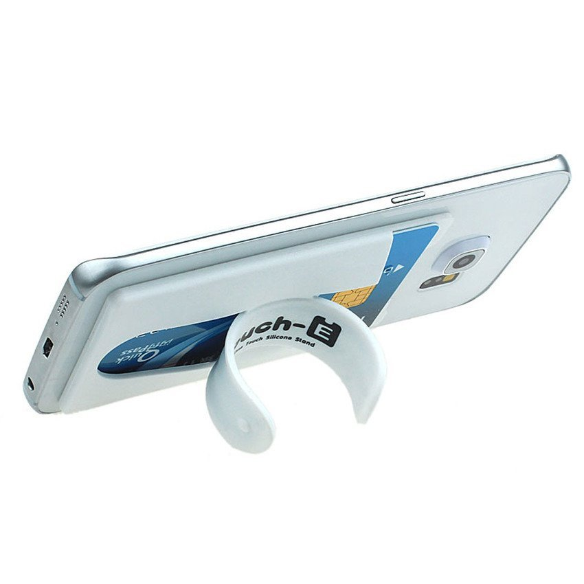 UJS Silicone Stick Credit Card Holder Slot Stand Shell Case For Smart Phone White (Intl)
