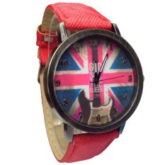 UJS The Union Jack UK Flag Round Dial Wrist Watch Red
