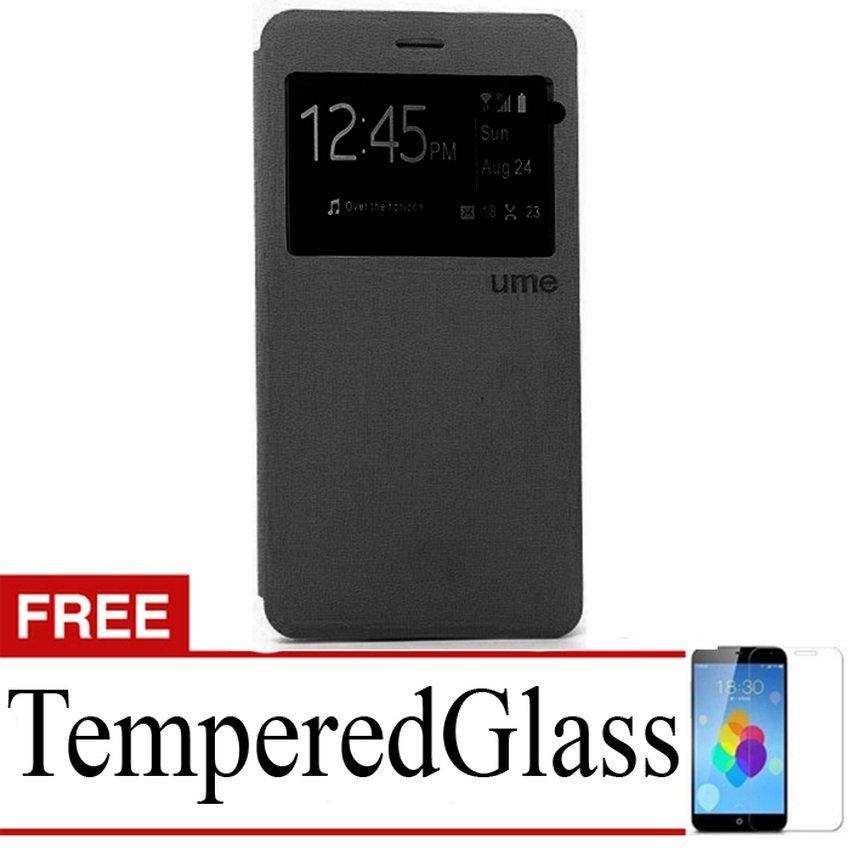 Uma Flip Cover For Alcatel Flash 2 - Hitam + Gratis Tempered Glass