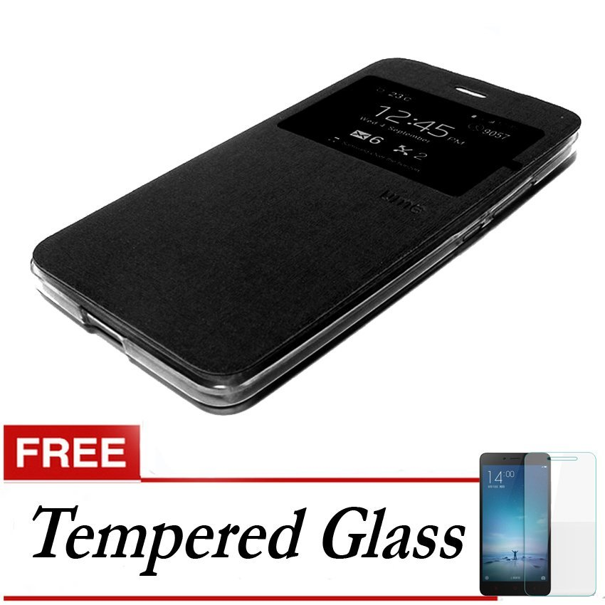 Ume Flip Cover Andromax R2 - Hitam + Gratis Tempered Glass
