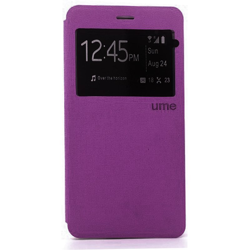 Ume Flip Cover for Infinix Hot Note X551 - Ungu + Gratis Tempered Glass