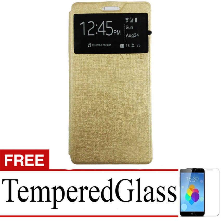 Ume flip Cover Oppo R7 lite - Emas + Gratis Tempered Glass
