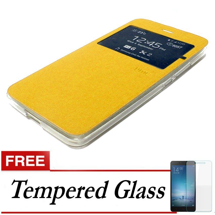 Ume flip Cover Samsung Galaxy A3 2016/A310 - Emas + Gratis Tempered Glass