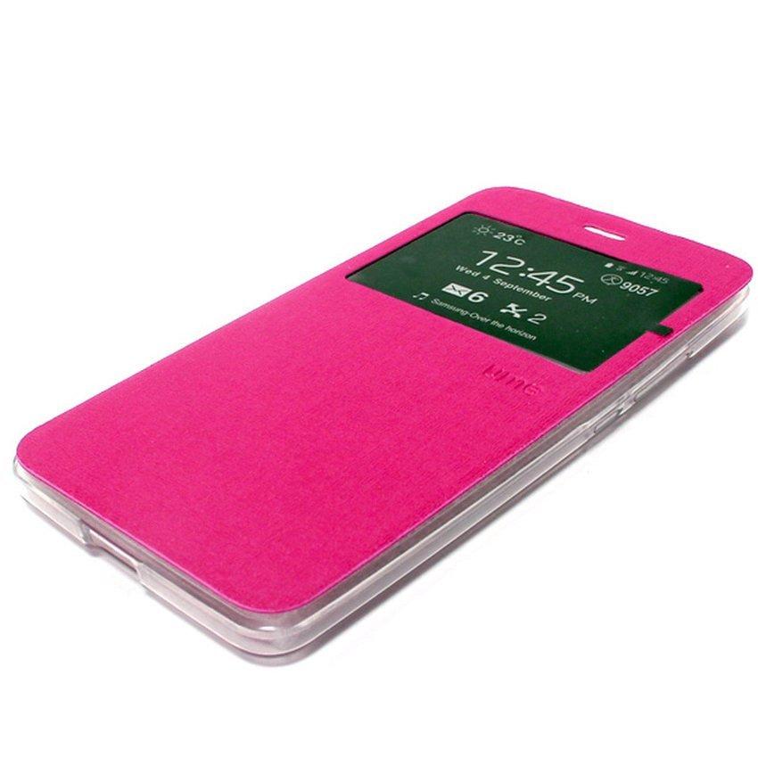 Ume Flip Cover untuk Huawei P8 Lite - Pink + Gratis Tempered Glass