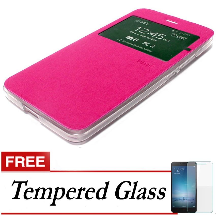 Ume Flip Cover untuk Meizu Mx5 - Pink + Gratis Tempered Glass