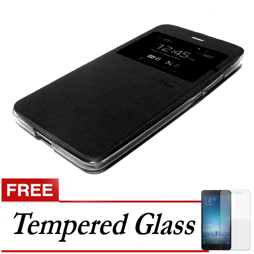 Ume Flip Cover Untuk Oppo F1- Hitam + Gratis Tempered Glass