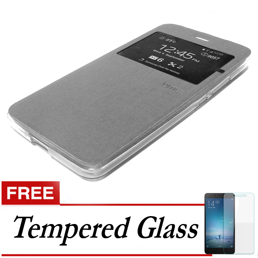 Ume Flip Cover Untuk Samsung Galaxy S7- Silver + Gratis Tempered Glass