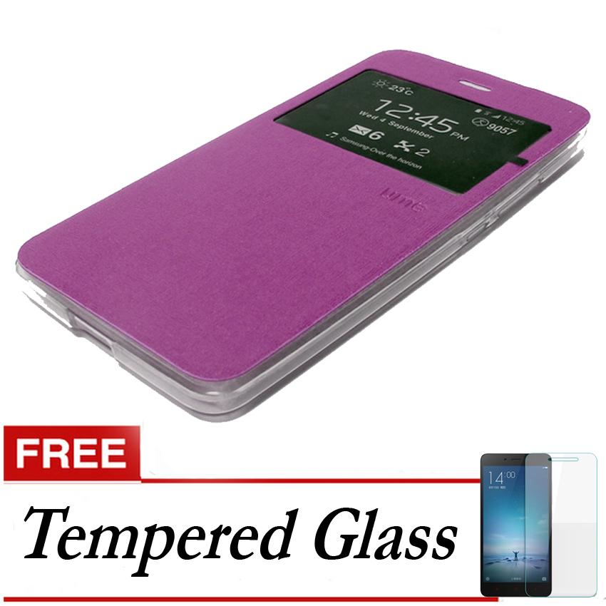 Ume Flip Cover Untuk Samsung Galaxy S7- Ungu + Gratis Tempered Glass