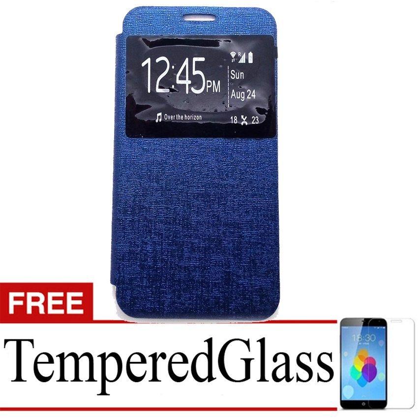 Ume Flip Cover untuk Sony Xperia Z5 Plus - Biru Dongker + Gratis Tempered Glass