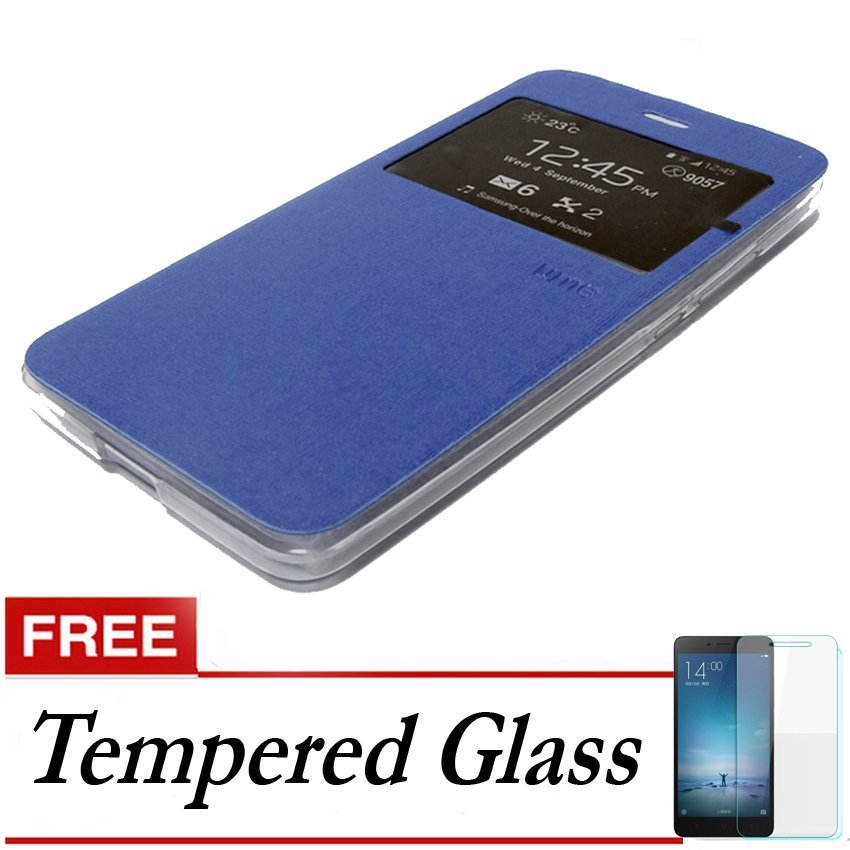 Ume Flip Cover untuk Vivo Y31 - Biru + Gratis Tempered Glass