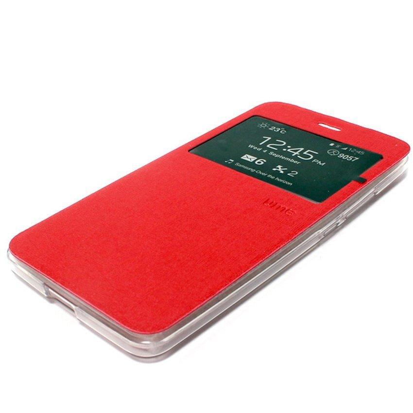 Ume Flip Cover untuk Vivo Y31 - Merah + Gratis Tempered Glass