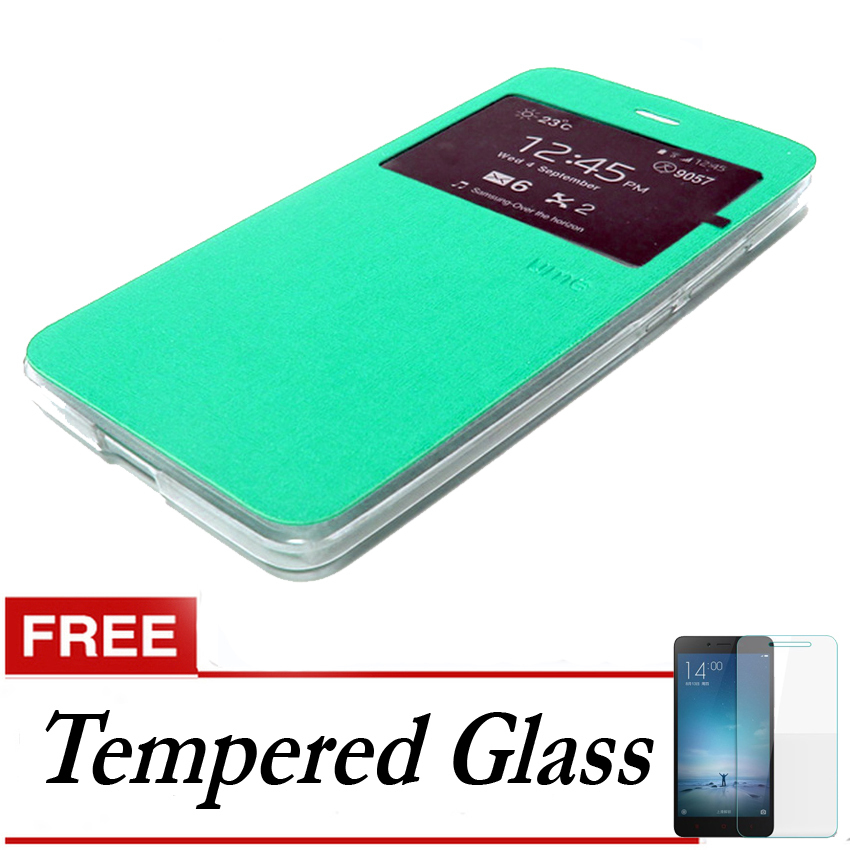 Ume flip Cover Xiaomi Mi4S- Hijau Tosca + Gratis Tempered Glass