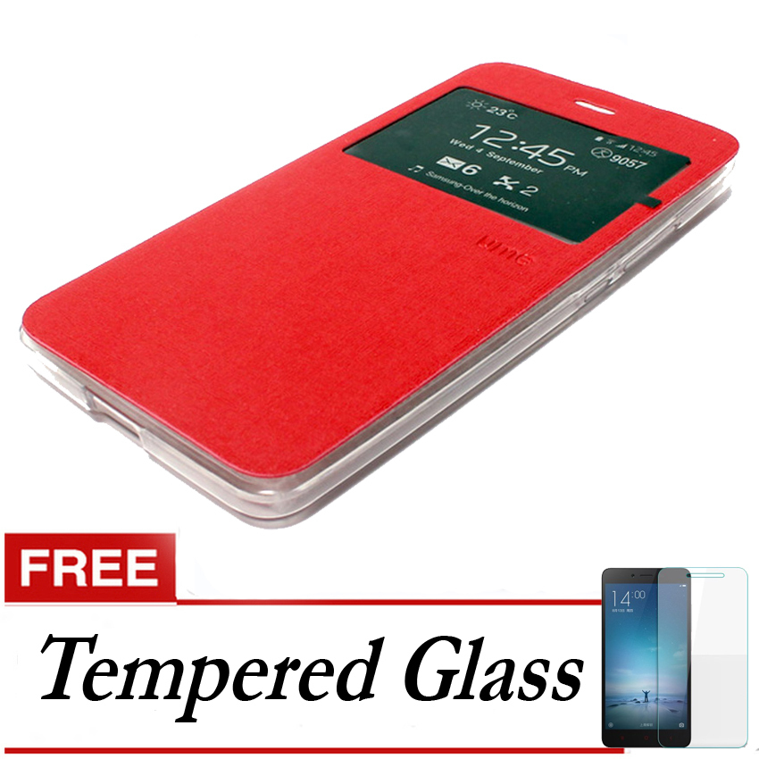 Ume Flip Cover Xiaomi Redmi 3 - Merah + Gratis Tempered Glass