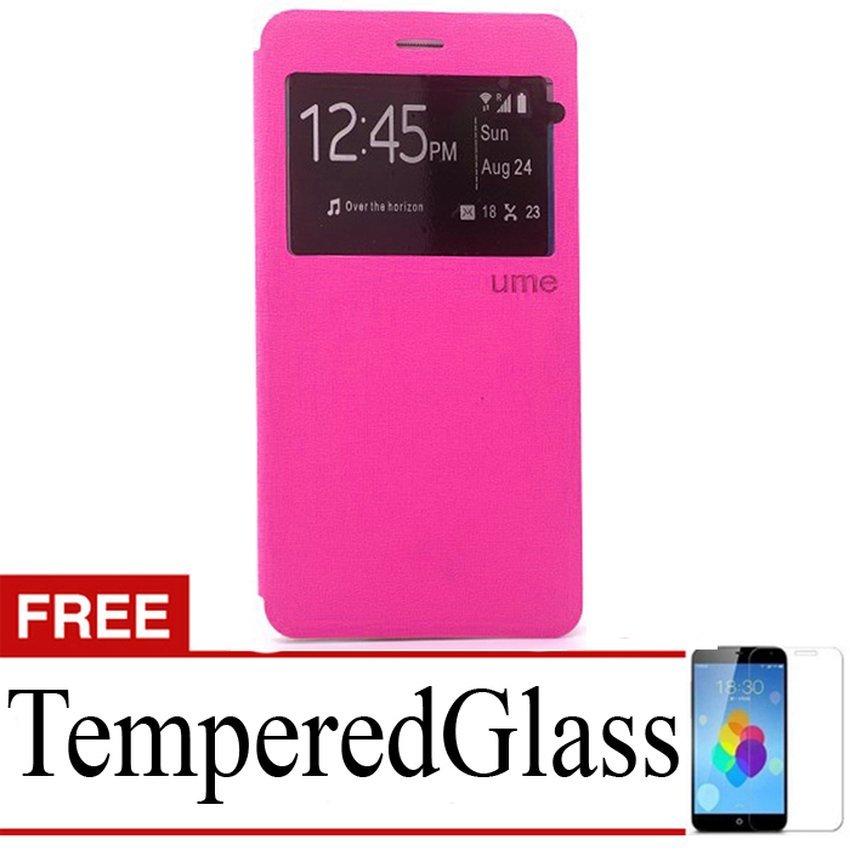 Ume flip Cover Xiaomi Redmi 3 - Pink + Gratis Tempered Glass