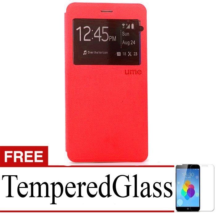 Ume Flip Cover Xiaomi Redmi Note 2 - Merah + Gratis Tempered Glass