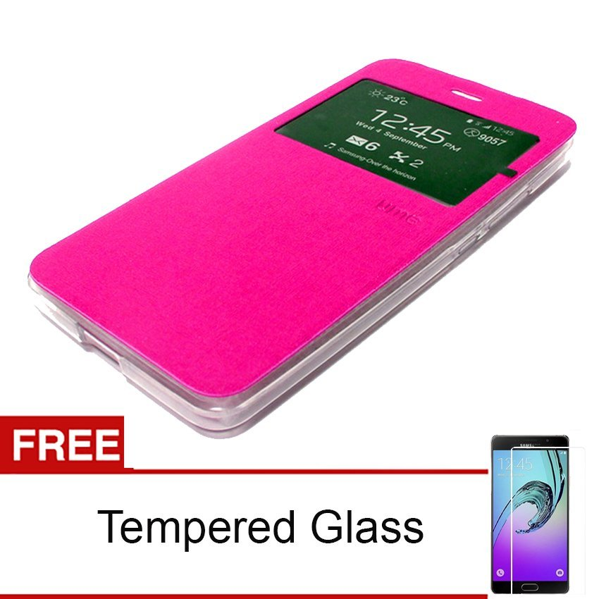 Ume Flip Cover ZTE Blade A711 - Pink + Gratis Tempered Glass