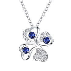 Unique Design Four Leaves Clover Design Gemstone Inlaid Pendant Silver Plated Colorful Chain Jewelry Necklace - Intl