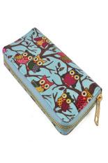 Unique Design Owl Printing Women Wallet Zipper Handbag Lady Clutch Bag (Blue)