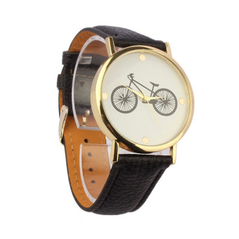 Unisex Bicycle Pattern Dial Leather Band Quartz Analog Wrist Watch Black