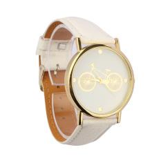Unisex Bicycle Pattern Dial Leather Band Quartz Analog Wrist Watch White