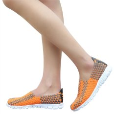 Unisex Fashion Casual Lovers Breathable Sneaker Shoes Woven Leisure Shoes For Running (Orange, 38) - INTL