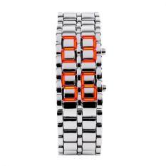 Unisex Lava Iron Samurai Metal LED Faceless Bracelet Watch Wristwatch (Silver Red)