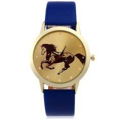 Unisex Quartz Watch Ultrathin Golden Horse Pattern Dial Leather Strap Wristwatch (BLUE)