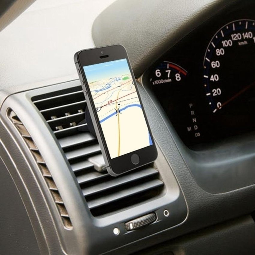 Universal Car Magnetic Air Vent Mount Clip Holder Dock For Cell Phone Tablet GPS (Black)