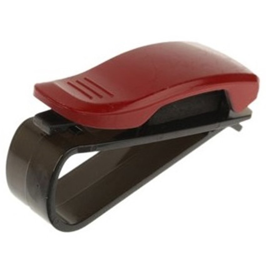 Universal Car Multifunctional Sunglass / Paper Business Card Clip - Merah