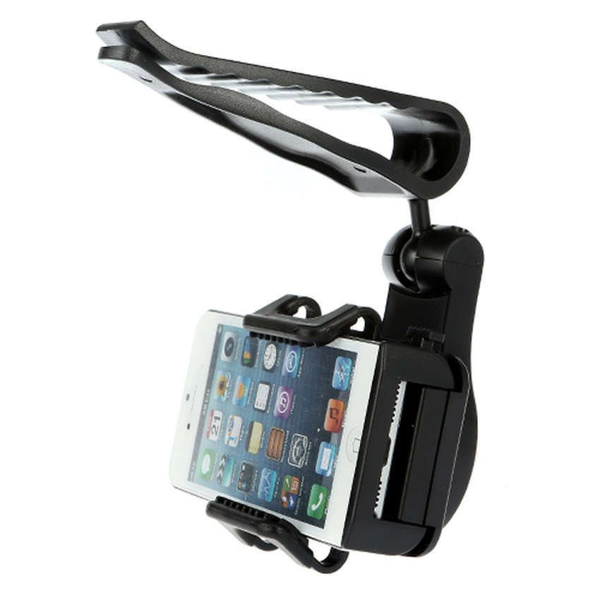 Universal Sun Visor Car Mount Holder for Smartphone4.5 - 5.5 inch - Black