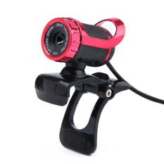 USB 12 Megapixel HD Camera Web Cam 360° MIC Clip-on For Computer Laptop PC Red (Intl)