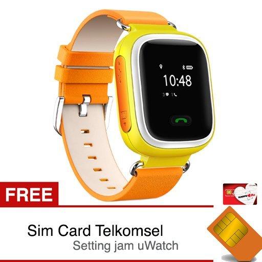 uWatch TINZ - GPS Tracker Smartwatch - Kuning + Gratis Sim Card TELKOMSEL dan Setting