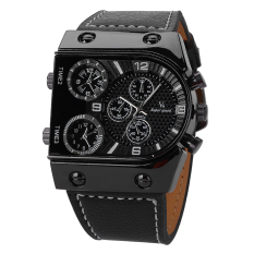 V6 Military 3 Time Zones Design Casual Watch Black Case PU Leather Band Wristwatch (Intl)