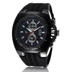 V6 Military Design Casual Watch Black Case Black Silicone Band