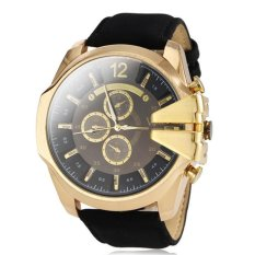 V6 Military Design Casual Watch Gold Case Black PU Leather Band (Intl)