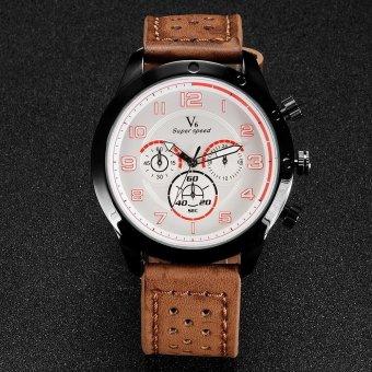 V6 Military Style Casual Quartz Watch PU Leather Band Khaki