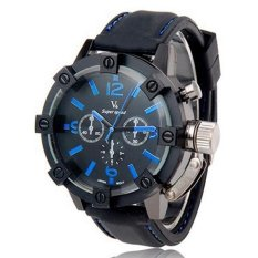 V6 Racing Design 3D Case Casual Watch Black Silicone Band Blue - Intl