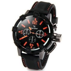 V6 Racing Design 3D Case Casual Watch Black Silicone Band Orange