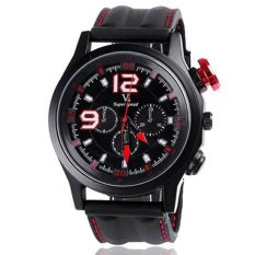 V6 Racing Design 3D Dial Casual Watch Black Case Silicone Band Red