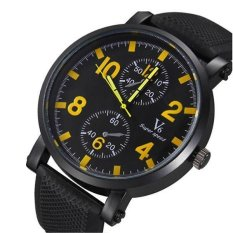 V6 Racing Design Casual Watch Black Silicone Band Yellow (Intl)