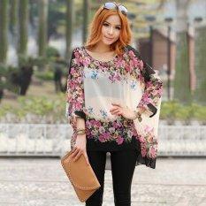 Vanker Bohemian Style Women Floral Print Batwing Sleeve Smock Chiffon Loose Tops Shirt - Intl