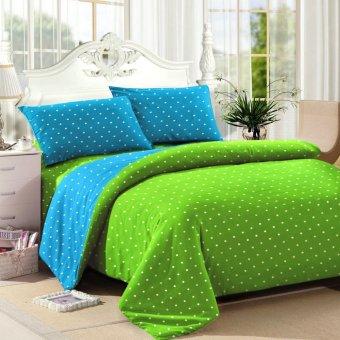 vanni bedcover katun motif polkadot hijau tosca lazada