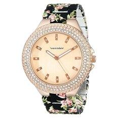 Vernier Women's VNR11167BK Rhinestone-Accented Rose Gold-Tone Watch - Intl