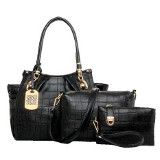 Vicria Tas Branded Wanita 3in1 - Women Office Korean Elegant Bag Style High Quality PU Leather - Hitam