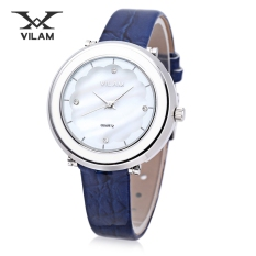 VILAM V1010L - 01B Women Quartz Watch 3ATM Artificial Diamond Petal Pattern Mirror Wristwatch (BLUE)