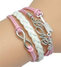 Vintage Bronze Infinity 8 Best Friend Heart Purple Rope Leather Bracelet Karma Pink + White (Intl)