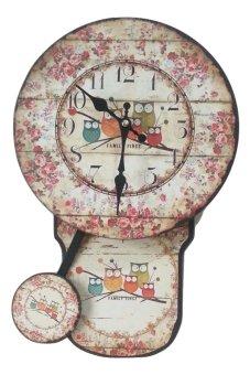 Vintage Pendulum Clock Owl ShabbyChic
