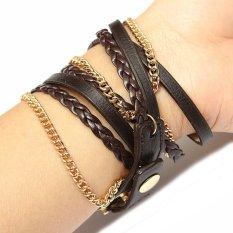 Vintage PU Leahter Weave Strap Women Analog Bracelet Watch - INTL