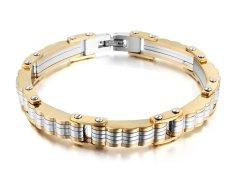 "Vnox Jewelry Mens Trendy Stainless Steel Bicycle Gear Link Bracelet Bangle, Gold Silver, 8.6"" (Intl)"